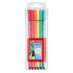 Viltstift STABILO Pen 68 fluor etui à 6 kleuren
