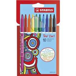 Viltstift STABILO Trio 2 in 1 etui à 10 kleuren