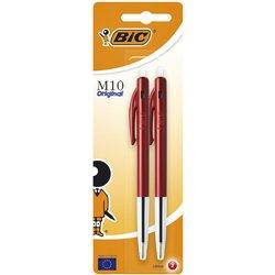 Balpen Bic M10 rood medium blister à 2st