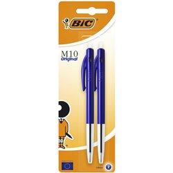 Balpen Bic M10 blauw medium blister à 2st