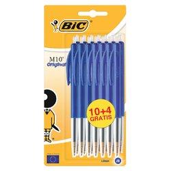 Balpen Bic M10 blauw medium blister à 10+4 gratis