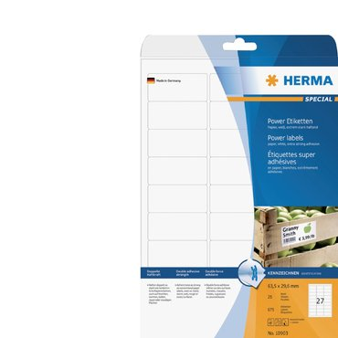 Etiket Herma Power 10903 63.5x29.6mm wit 675stuks