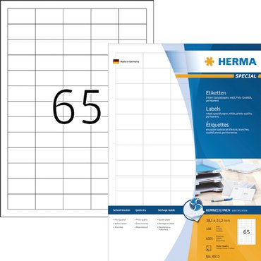 Etiket Herma 4810 38.1x21.2mm wit 6500stuks