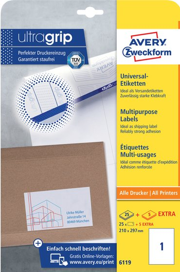 Etiket Avery Zweckform 6119 210x297mm A4 wit 25stuks