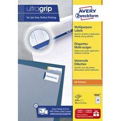 Etiket Avery Zweckform 3666 38x21.2mm wit 6500stuks