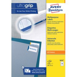 Etiket Avery Zweckform 3650 48x21mm wit 5200stuks