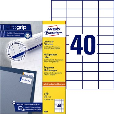 Etiket Avery Zweckform 3651 52.5x29.7mm wit 4000stuks
