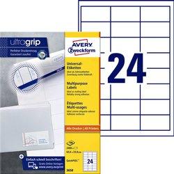 Etiket Avery Zweckform 3658 64.6x33.8mm wit 2400stuks