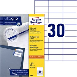 Etiket Avery Zweckform 3489 70x29.7mm wit 3000stuks