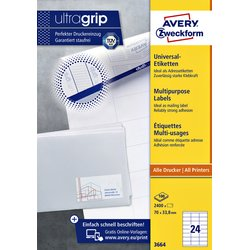 Etiket Avery Zweckform 3664 70x33.8mm wit 2400stuks