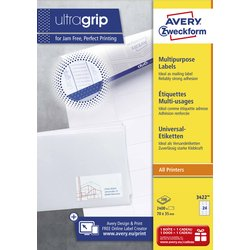 Etiket Avery Zweckform 3422 70x35mm wit 2400stuks