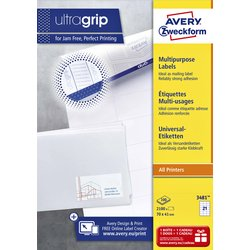 Etiket Avery Zweckform 3481 70x41mm wit 2100stuks