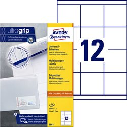 Etiket Avery Zweckform 3661 70x67.7mm wit 1200stuks
