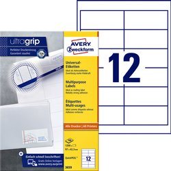Etiket Avery Zweckform 3659 97x42.3Mm wit 1200stuks