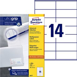 Etiket Avery Zweckform 3477 105x41mm wit 1400stuks