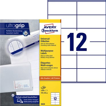 Etiket Avery Zweckform 3424 105x48mm wit 1200stuks