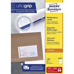 Etiket Avery Zweckform 3478 210x297mm A4 wit 100stuks