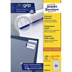 Etiket Avery Zweckform 3666 38x21.2mm wit 13000stuks