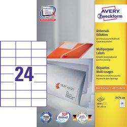 Etiket Avery Zweckform 3474-200 70x37mm wit 4800stuks