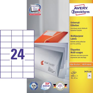 Etiket Avery Zweckform 3474-200 70x37mm wit 4800stuks