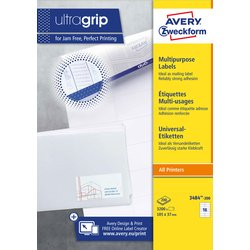 Etiket Avery Zweckform 3484 105x37mm wit 3200stuks