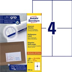 Etiket Avery Zweckform 3483 105x148mm A6 wit 800stuks