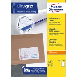 Etiket Avery Zweckform 3655 210x148mm A5 wit 400stuks