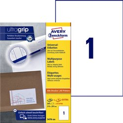 Etiket Avery Zweckform 3478 210x297mm A4 wit 200stuks