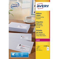 Etiket Avery L7160-40 63.5x38.1mm wit 840stuks