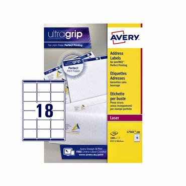 Etiket Avery L7161-100 63.5x46.6mm wit 1800stuks
