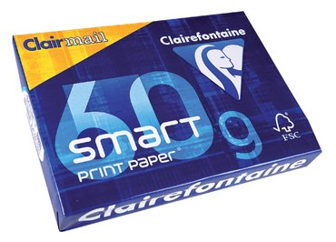 Kopieerpapier Clairefontaine Clairmail A4 60gr wit 500vel