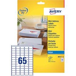 Etiket Avery J8651-10 38.1x21.2mm wit 650stuks