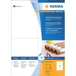 Etiket Herma 4377 105x148mm A6 weerbestendig 400stuks wit