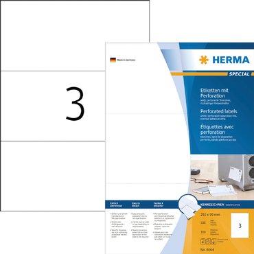 Etiket Herma 4664 210x99mm geperforeerd wit 300stuks