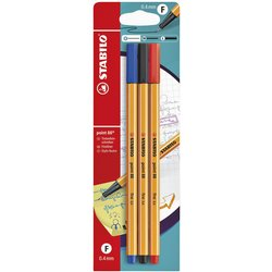 Fineliner STABILO point 88 blister à 3 kleuren