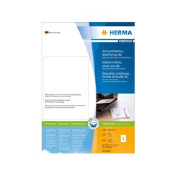 Adresetiketten Herma 8689 Premium vel formaat A6 105x148 mm wit papier mat 800 st.
