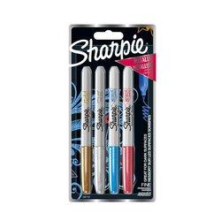 Viltstift Sharpie 0,9mm Metallic assorti blister à 4 stuks