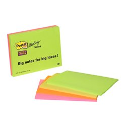 Memoblok 3M Post-it 6845 Super Sticky 149x200mm assorti