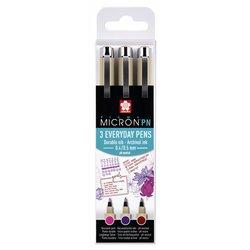 Fineliner Sakura pigma micron 0.4mm blister à 3 stuks assorti