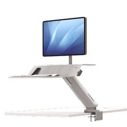 Lotus RT Zit-Sta werkstation wit Fellowes voor enkele monitor