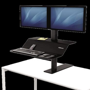 Lotus VE Zit-Sta werkstation zwart Fellowes voor 2 monitoren