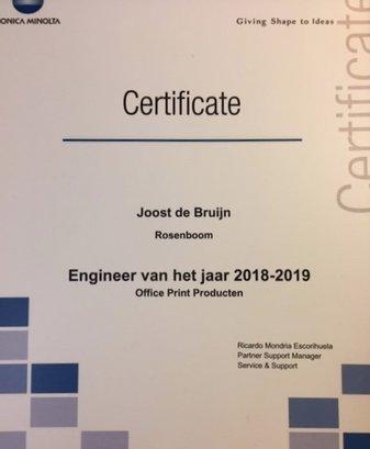 Joost de Bruijn Engineer of the Year Konica Minolta