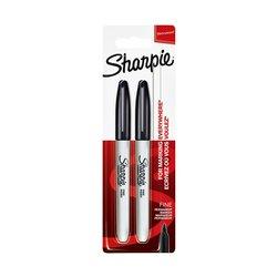 Viltstift Sharpie rond 0.9mm zwart blister à 2 stuks