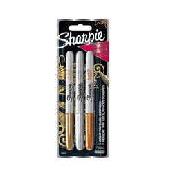Viltstift Sharpie rond 0.9mm metallic assorti blister à 3 stuks