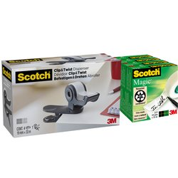 Plakbandhouder Scotch Clip C19 donkergrijs + 4rol magic tape 19mmx33m