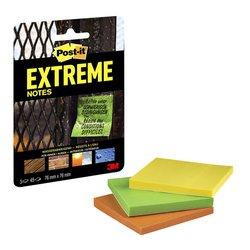 Memoblok Post-it Extreme 76x76mm 3 kleuren assorti