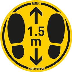 Vloersticker houd afstand geel/zwart Ø350mm ruwe vloeren