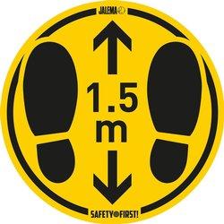 Vloersticker voor gladde vloeren houd afstand Ø350mm geel/zwart