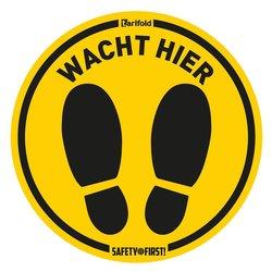 Anti-slip vloersticker 'Wacht hier' Voor ruwe vloeren Ø 350 mm