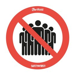 Anti-slip vloersticker 'Samenscholingsverbod' Voor ruwe vloer Ø 350 mm